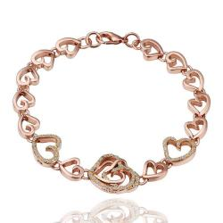 Vienna Jewelry 18K Gold Hearts Connector Bracelet with Austrian Crystal Elements - Thumbnail 0