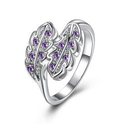 Purple Citrine Duo Leaf Branch Petite Ring Size 8 - Thumbnail 0