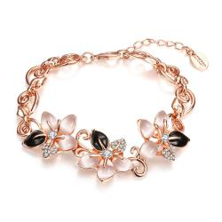 Vienna Jewelry 18K Rose Gold Bracelet with Onyx & Ivorys Gems with Austrian Crystal Elements - Thumbnail 0