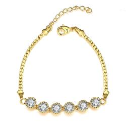Vienna Jewelry Gold Plated Fine Line of Diamond Crystals Bracelet - Thumbnail 0