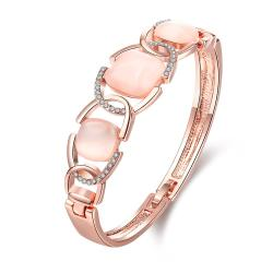 Vienna Jewelry 18K Rose Gold Bangle with Connected Gemstones with Austrian Crystal Elements - Thumbnail 0