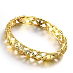 Vienna Jewelry Gold Plated Intertwined Classic Standard Bangle - Thumbnail 0