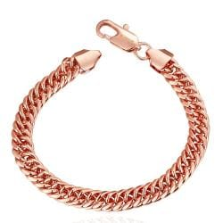 Vienna Jewelry 18K Rose Gold Classic Chain Bracelet with Austrian Crystal Elements - Thumbnail 0