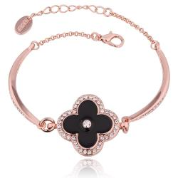 Vienna Jewelry 18K Rose Gold Black Floral Petal Bracelet with Austrian Crystal Elements - Thumbnail 0