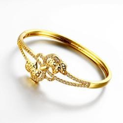 Vienna Jewelry Gold Plated Floral Petal Hollow Knots Bangle - Thumbnail 0