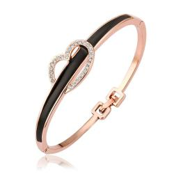 Vienna Jewelry 18K Gold Onyx Bangle with Heart Closure with Austrian Crystal Elements - Thumbnail 0