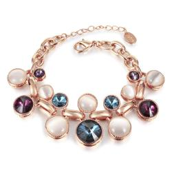 Vienna Jewelry 18K Gold Colorful Gems Bracelet with Austrian Crystal Elements - Thumbnail 0