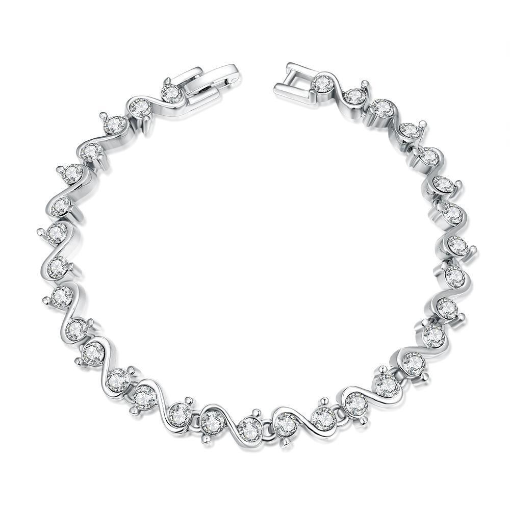 Vienna Jewelry Swirl White Gold 18K Plated Bracelet