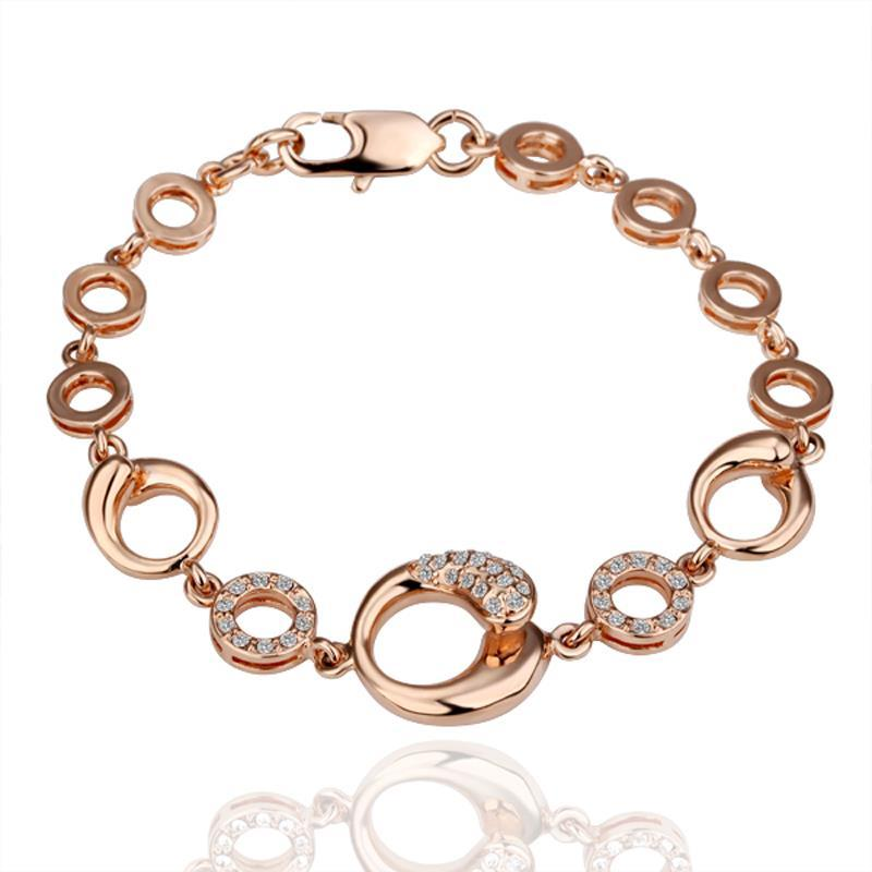 Vienna Jewelry 18K Gold Hollow Circles Interconnected Bracelet with Austrian Crystal Elements
