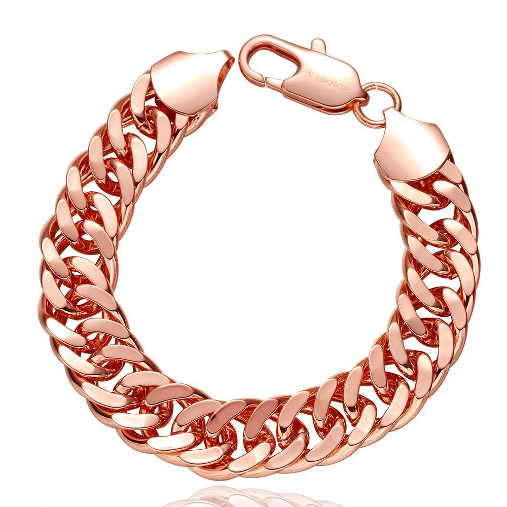 Vienna Jewelry 18K Rose Gold Double Chained Men's Bracelet with Austrian Crystal Elements