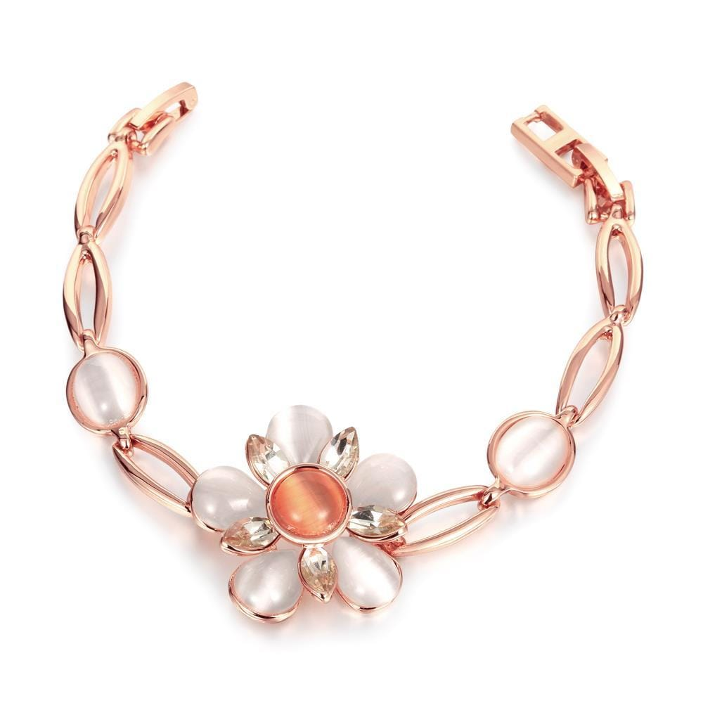 Vienna Jewelry 18K Rose Gold Bracelet & Orange Citrine Centerpiece with Austrian Crystal Elements