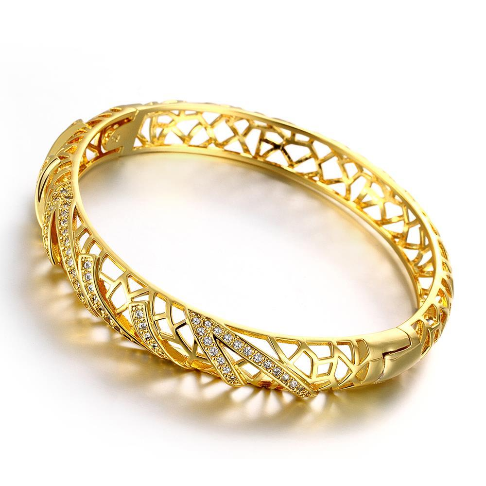 Vienna Jewelry Gold Plated Voyager Laser Cut Ingrain Bangle