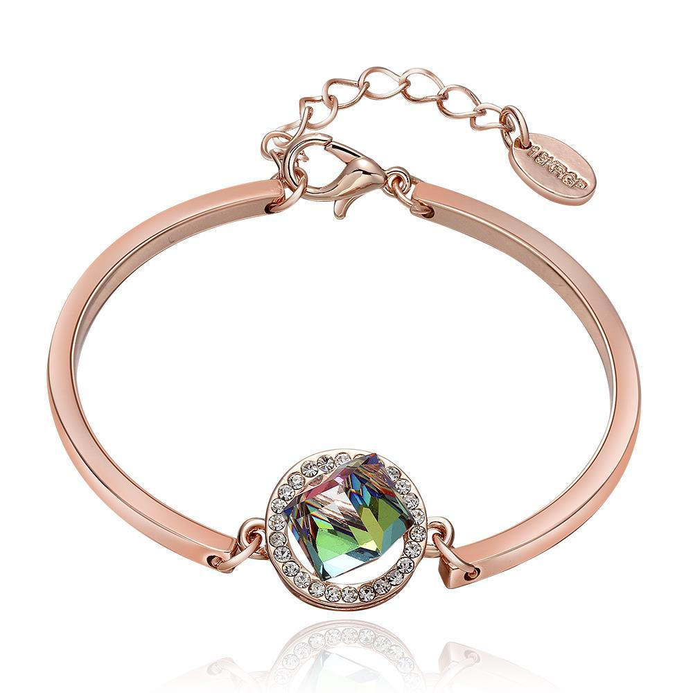 Vienna Jewelry 18K Rose Gold Emerald Emblem Bracelet with Austrian Crystal Elements