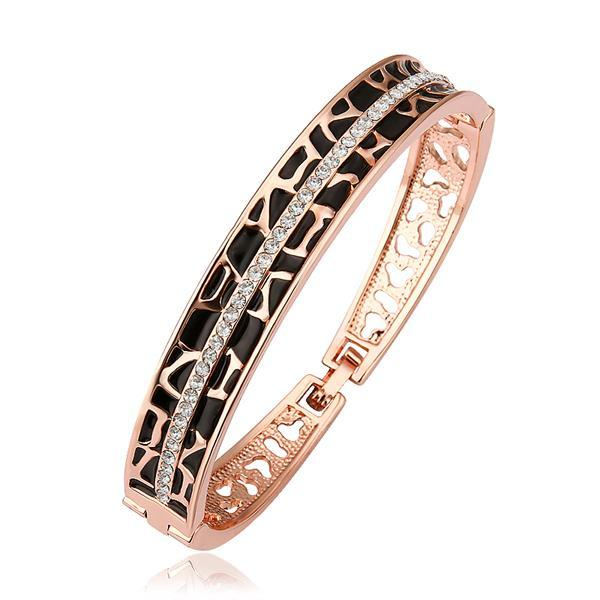 Vienna Jewelry 18K Gold Bangle with Black & Gold Ingrained with Austrian Crystal Elements