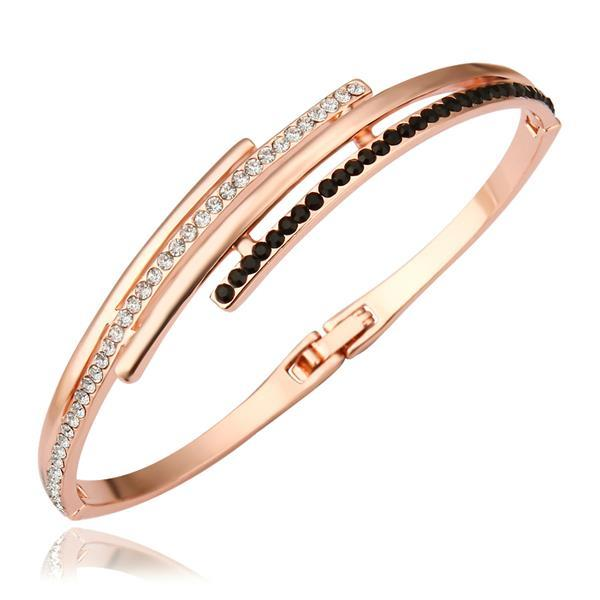 Vienna Jewelry 18K Gold Bangle with Onyx Jewels Ingrained with Austrian Crystal Elements