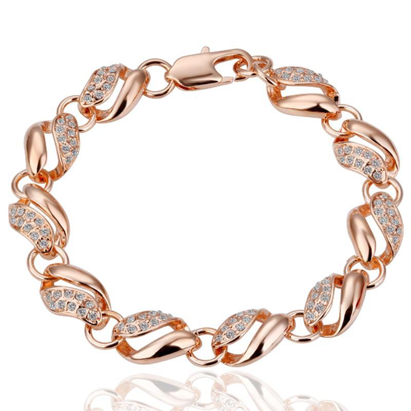 Vienna Jewelry 18K Gold Thick Chain Interconencted Bracelet with Austrian Crystal Elements
