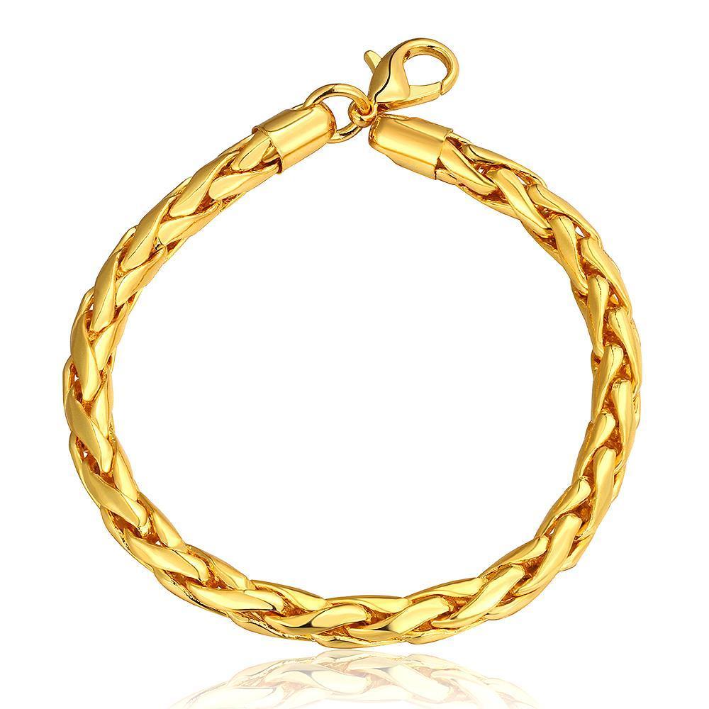 Vienna Jewelry 18K Gold Flat Marina Bracelet with Austrian Crystal Elements