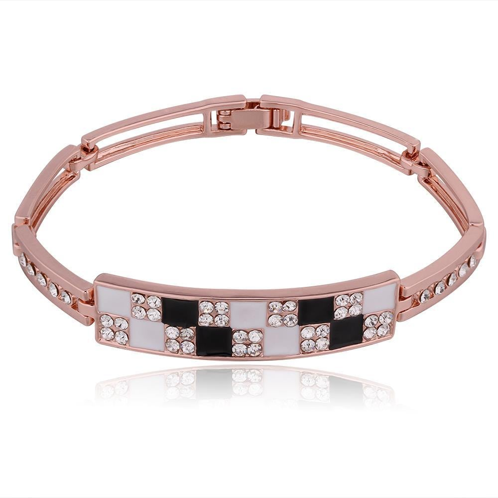 Vienna Jewelry 18K Rose Gold Black & White Checkerboard Bracelet with Austrian Crystal Elements