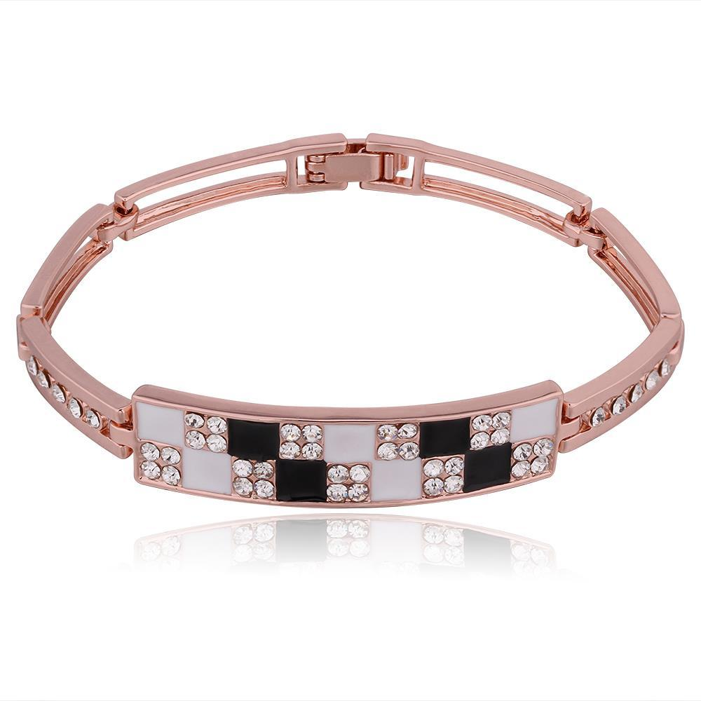 Vienna Jewelry 18K Rose Gold Black & White Checkerboard Bracelet with Austrian Crystal Elements - Thumbnail 0