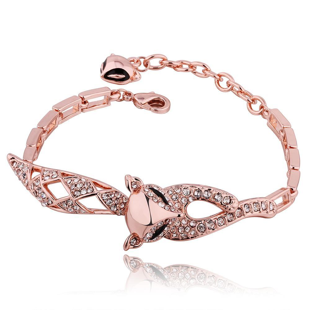 Vienna Jewelry 18K Gold Kitty Cat Connector Bracelet with Austrian Crystal Elements