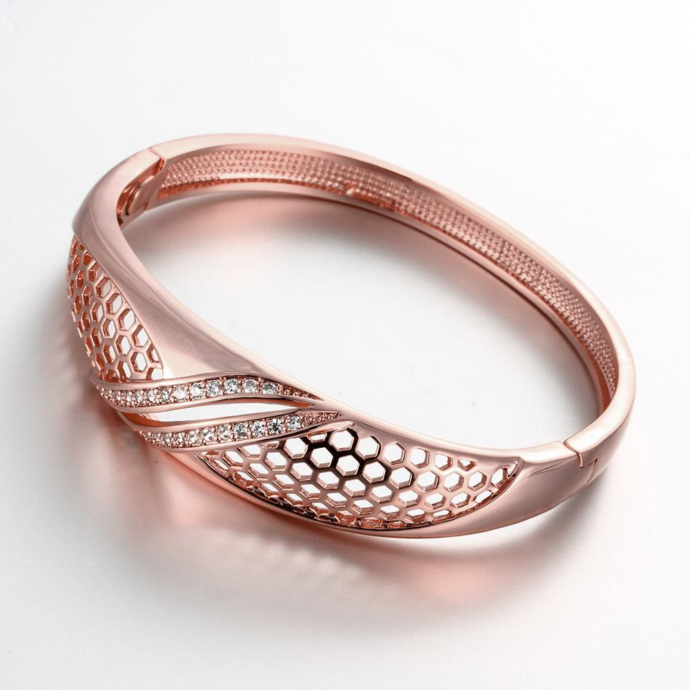 Vienna Jewelry Rose Gold Plated Solo Pave' Slim Cuff Bangle