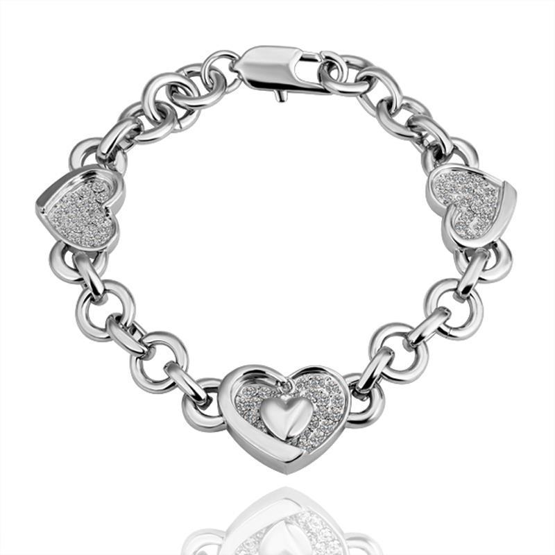 Vienna Jewelry White Gold Hearts Interlocking Bracelet with Austrian Crystal Elements