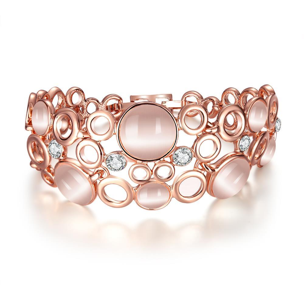 Vienna Jewelry 18K Rose Gold Bangle Covered with Coral Natural Gemstones with Austrian Crystal Elements