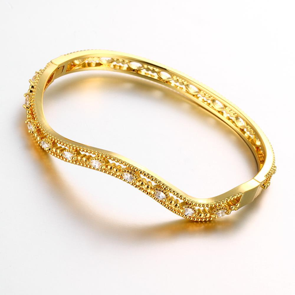 Vienna Jewelry Gold Plated Elegant Thin Lay Bangle