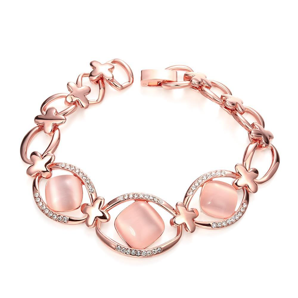 Vienna Jewelry 18K Rose Gold Pink Natural Gemstone Bracelet with Austrian Crystal Elements