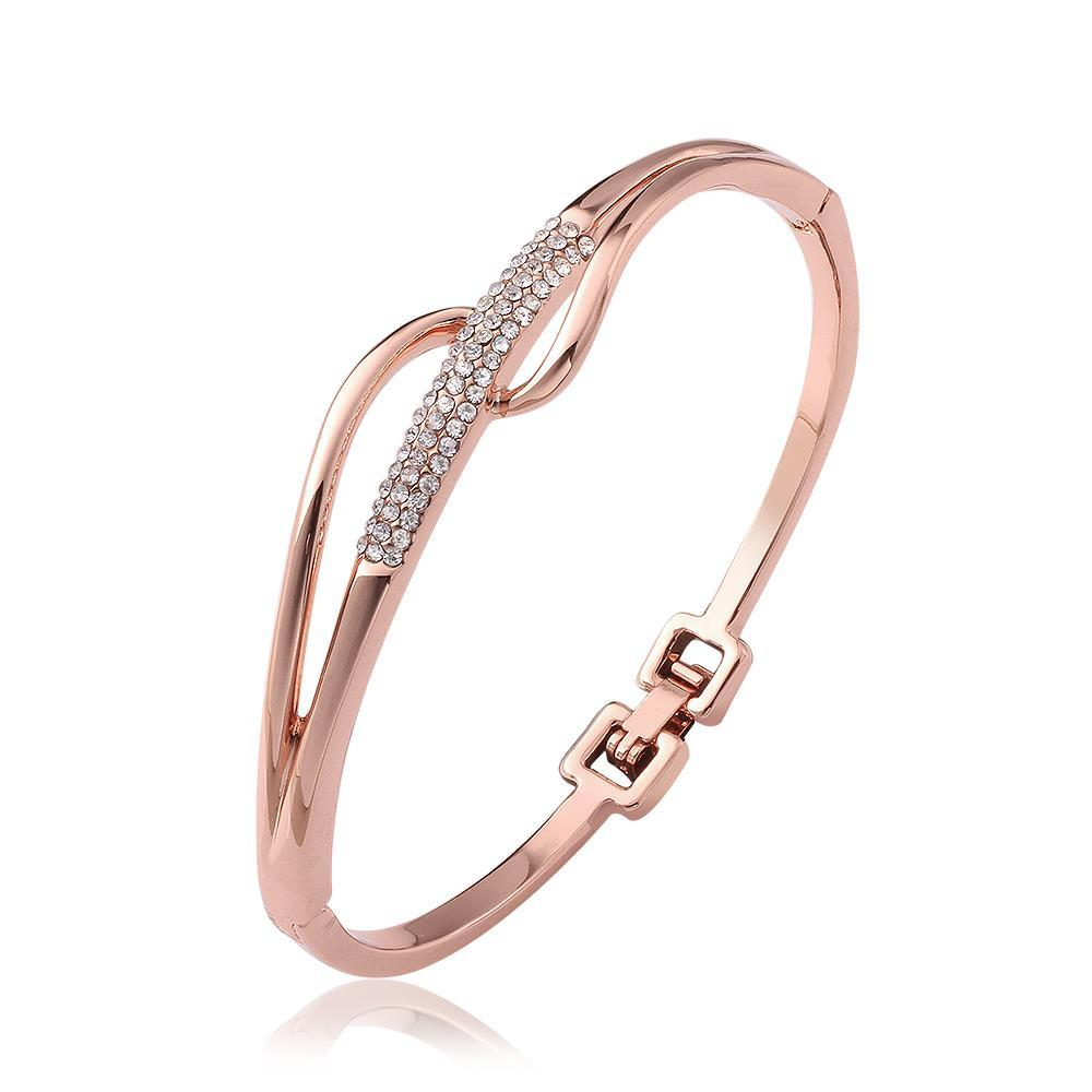 Vienna Jewelry 18K Rose Gold Abstract Intertwined Bangle with Austrian Crystal Elements