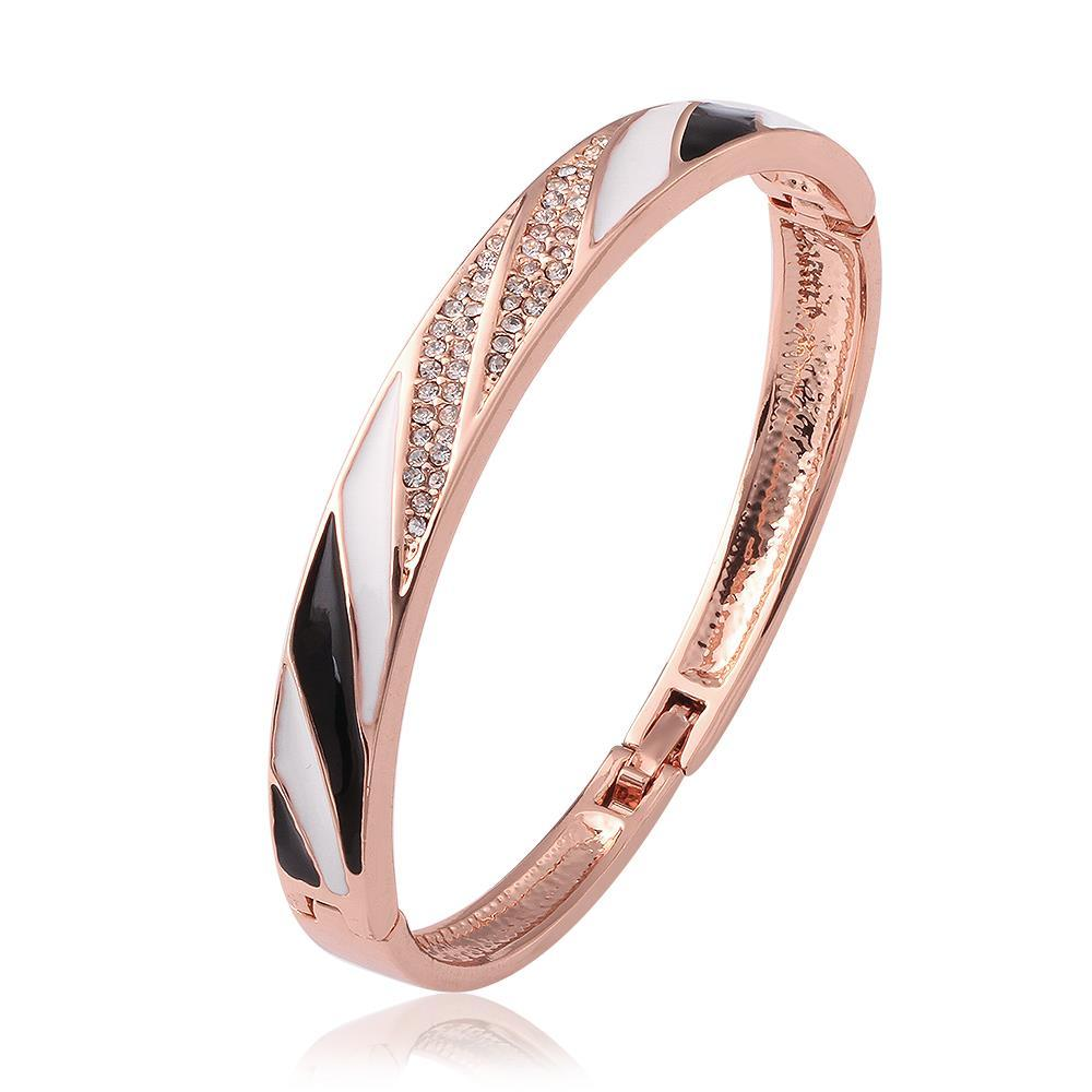 Vienna Jewelry 18K Rose Gold Bangle with Onyx & Ivory Covering with Austrian Crystal Elements