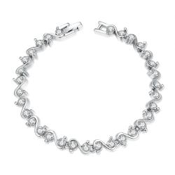 Vienna Jewelry Swirl White Gold 18K Plated Bracelet - Thumbnail 0