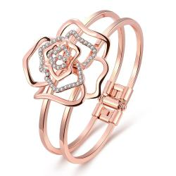 Vienna Jewelry 18K Rose Gold Hollow Flower Bangle with Austrian Crystal Elements - Thumbnail 0