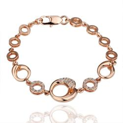 Vienna Jewelry 18K Gold Hollow Circles Interconnected Bracelet with Austrian Crystal Elements - Thumbnail 0