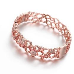 Vienna Jewelry Rose Gold Plated Roman Inspired Laser Cut Bangle - Thumbnail 0