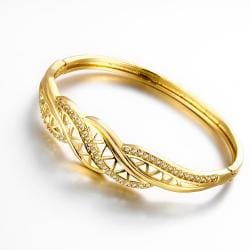 Vienna Jewelry Gold Plated Big Bling Bangle - Thumbnail 0