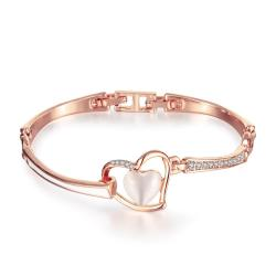 Vienna Jewelry 18K Rose Gold Thin Lay & Hollow Emblem Bracelet with Austrian Crystal Elements - Thumbnail 0
