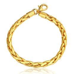 Vienna Jewelry 18K Gold Flat Marina Bracelet with Austrian Crystal Elements - Thumbnail 0