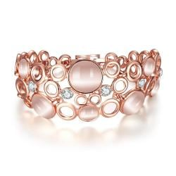 Vienna Jewelry 18K Rose Gold Bangle Covered with Coral Natural Gemstones with Austrian Crystal Elements - Thumbnail 0