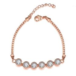 Vienna Jewelry Rose Gold Plated Fine Line of Diamond Crystals Bracelet - Thumbnail 0