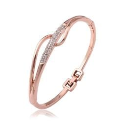 Vienna Jewelry 18K Rose Gold Abstract Intertwined Bangle with Austrian Crystal Elements - Thumbnail 0
