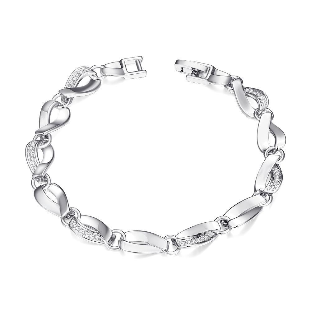 Vienna Jewelry White Gold Plated Malibu Beach Hollow Ingrained Bracelet