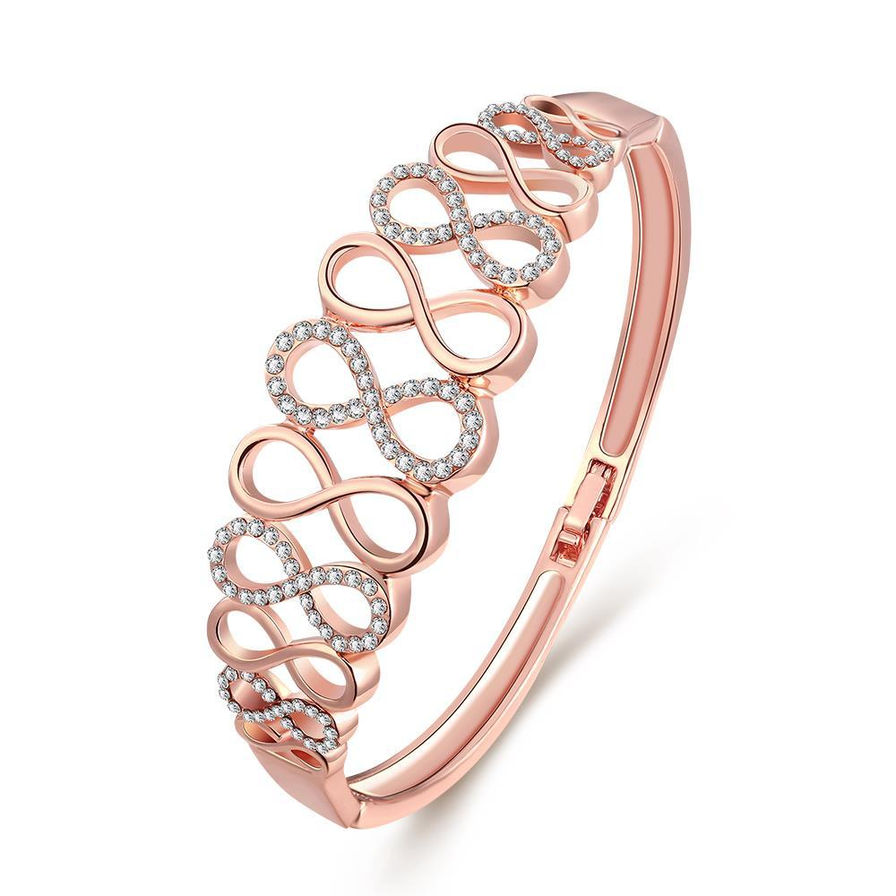 Vienna Jewelry 18K Rose Gold Hollow Abstract Swirl Design Bangle with Austrian Crystal Elements