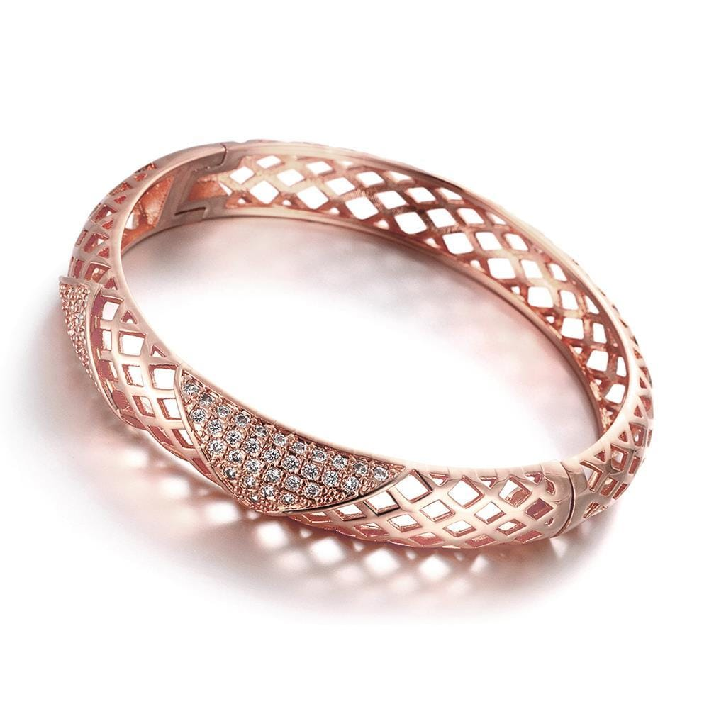 Vienna Jewelry Rose Gold Plated Modern Knot Bangle