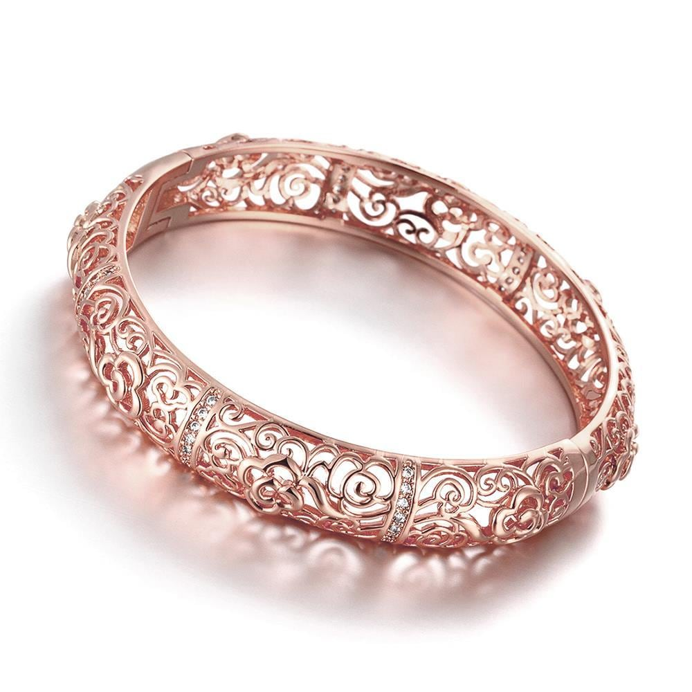 Vienna Jewelry Rose Gold Plated Hollow Ingrain Classic Bangle