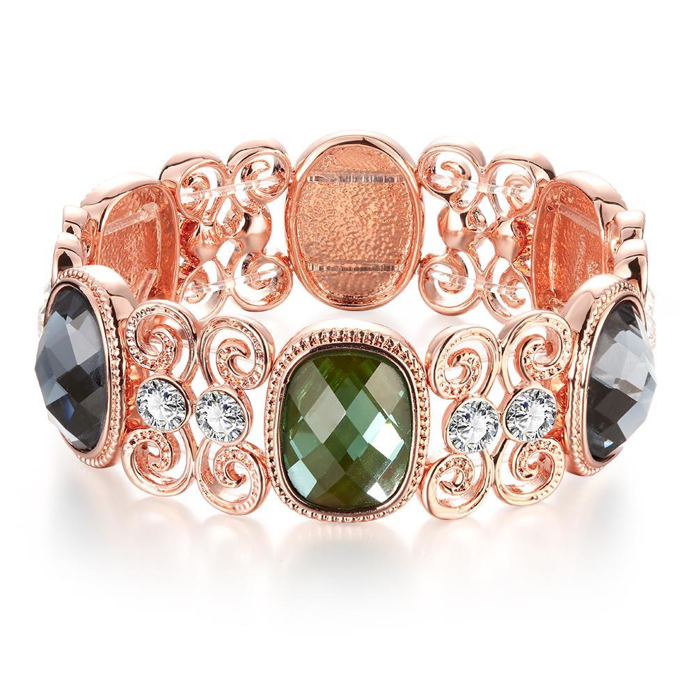 Vienna Jewelry 18K Gold Bangle with Emerald Gems with Austrian Crystal Elements