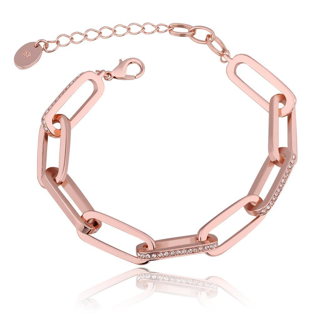 Vienna Jewelry 18K Rose Gold Thick Chain Bracelet with Austrian Crystal Elements