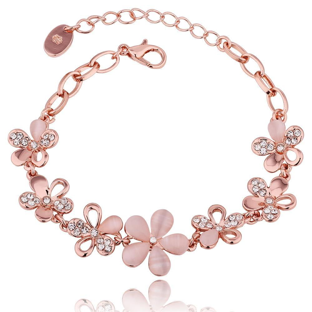Vienna Jewelry 18K Rose Gold Floral Petals Bracelet with Austrian Crystal Elements