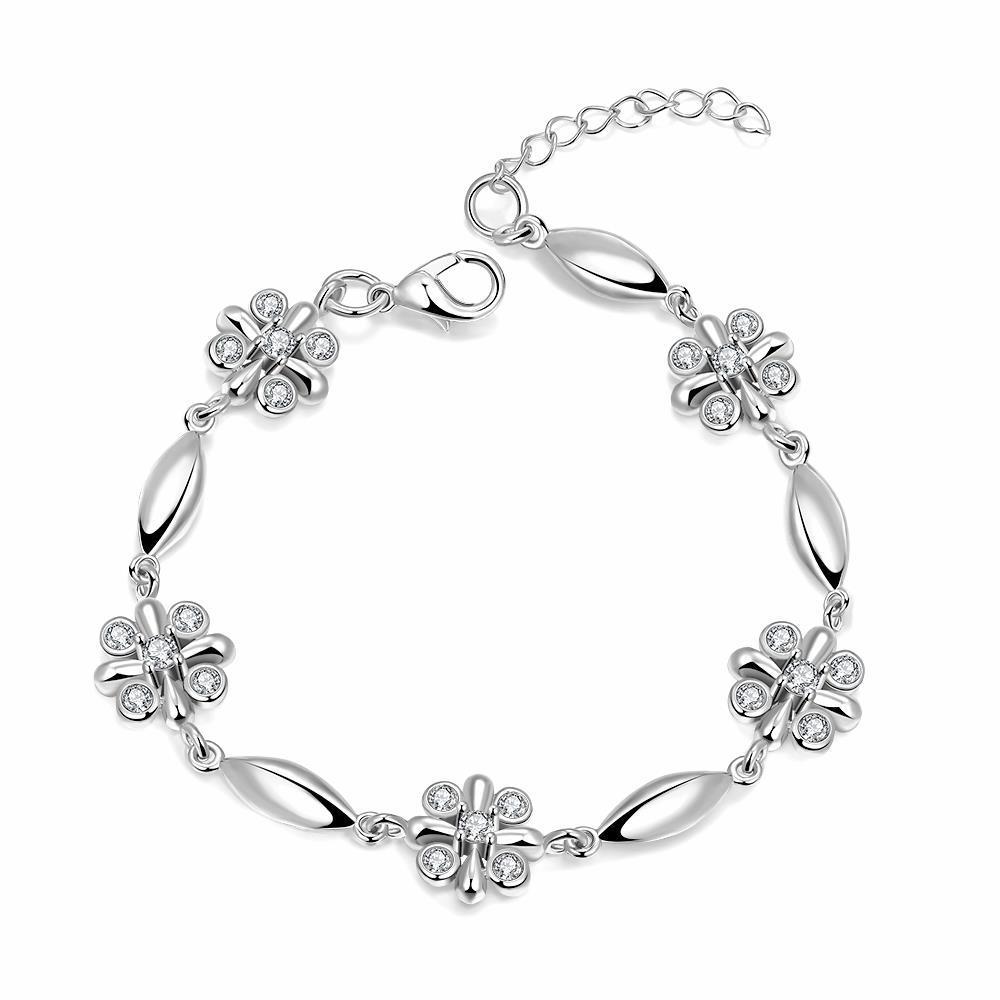 Vienna Jewelry 18K White Gold Rose Petals Emblem Bracelet with Austrian Crystal Elements