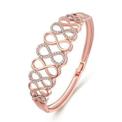 Vienna Jewelry 18K Rose Gold Hollow Abstract Swirl Design Bangle with Austrian Crystal Elements - Thumbnail 0
